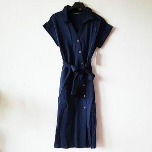 Zara Asymmetrical Buttons Midi Tencel Shirt Dress